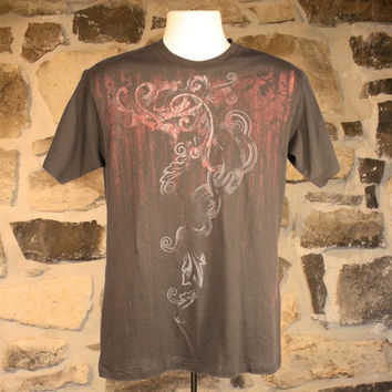 Wrangler Men's Rock 47 T-Shirt in Black with Red Scroll