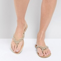 Pia Rossini Silvana Embellished Braid Flat Sandal at asos.com