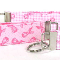 Breast Cancer Ribbon Key Chain, Wristlet, Key Fob