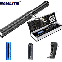 SAMLITE - CREE LED Bat Flashlight, Extended Telescopic Zoom, High Power Tactical Light For Hiking, Hunting, Camping, And Emergency Outdoor Use, 18650 Battery and Charger Included, Water Resistant