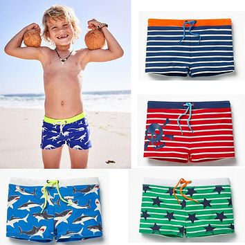 Summer Swimming High Waist Pants Lovely Kids Boys Casual Striped Short Pants Bathing Suit Swimwear Swimsuit Shorts