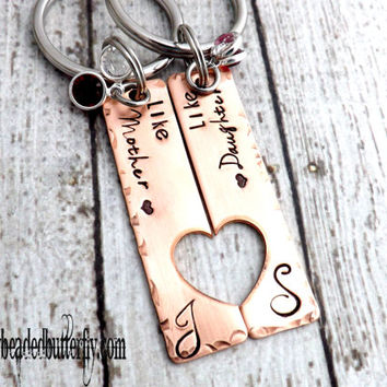 mother daughter keychains-mother daughter necklace set-personalized keychain-mothers day gift-couples keychain-mom keychain-mothers day