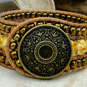wrap leather cuff bracelet chan luu boho surfer zen earthly indie chic style with bronze button gold glass natural gemstone beads