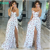Women long Cherry print white empire strapless floor length dresses