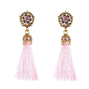 Tassel Crystal Drop Fashion Earrings