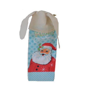 Santa Kitchen Towel Hanging Towel Tie on Towel Linen Towel with Ties Coworker Gift Christmas Decor Tea Towel Christmas Towel Gift for Her