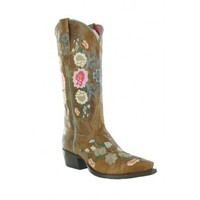 """Macie Bean By Anderson Bean Cowboy Boots Honey Bunch 10"""" Top Embroidery Floral Kids Cowboy Boots"""