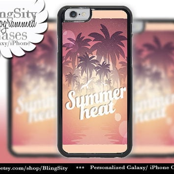 Summer Heat Iphone 6 case 6 Plus Beach Palm Trees Sunset Love Iphone 4 4s 5 5s 5c 6 6+ Ipod Touch Cover