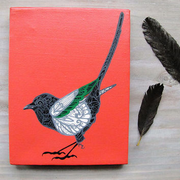 Magpie Tangle Original Acrylic Painting 6 x 8
