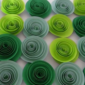 """St. Patrick's Day Party Decorations, Shades of Green, set of 24 paper flowers, 1.5"""" quilled roses, bright, neon, pastel ombre colors"""