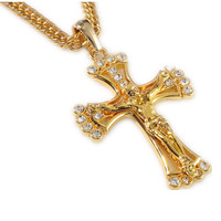 2016 Delicate Chain Hip Hop Rapper Cool Jesus Christ Cross Pendents Long Necklace Men Gold Chain 18k Plated Jewelry Cheap N141