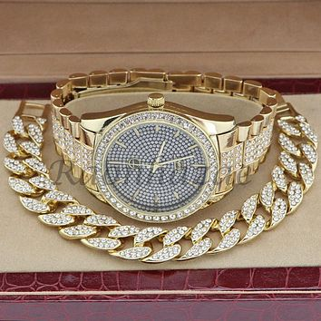 MEN 14K GOLD PT G-EAZY BLING LUXURY WATCH CUBAN BRACELET COMBO SET 16G