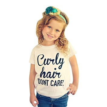 """CURLY HAIR DON'T CARE""  Cotton T-shirt"