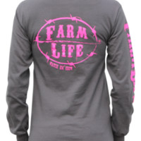 Farm Life Charcoal and Pink Signature Long Sleeve Shirt: Farm Life | Watch 'em Grow | Apparel, Hats, Decals