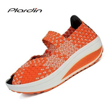 plardin 2017 Summer Wedges women's Sandals Shoes For women Woven shoes Colorful Breathable Beach Sandals Jelly Shoes Woman
