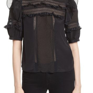 Rebecca Taylor Lace Trim Silk Blouse | Nordstrom