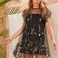 Floral Embroidery Mesh Overlay Button Keyhole Dress
