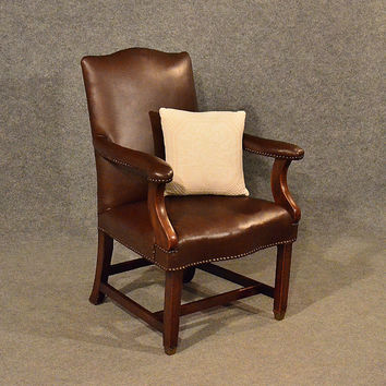 Antique Leather Study Chair Mahogany Frame Gainsborough Armchair Victorian c1900