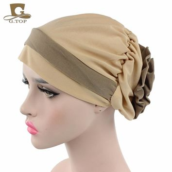 NEW women Padded Folded turban cap head wrap Georgette Flower Headcover for Cancer Chemo Hair Loss