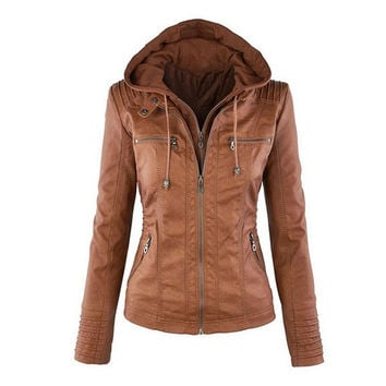 Womens New Faux Twinset Detachable Hat Autumn Winter Faux Leather Slim Jacket Hoodie Hooded Zip-up Pockets Outerwear Coats Q4326