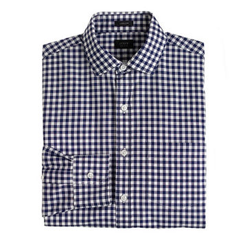J.Crew Mens Tall Ludlow Spread-Collar Shirt In Navy Gingham
