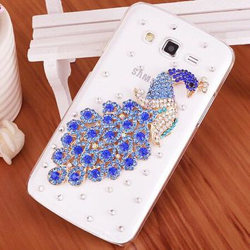 New Luxury 3D Peacock Bird bling Crystal diamond Mobile phone Shell Back Cover Skin Hard Case For Samsung Galaxy J3