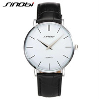 SINOBI Fashion Brand ultra slim Classic Casual Quartz watches Men Busness JAPAN Leather Analog Relogio Masculino wristwatches
