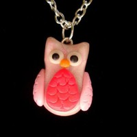 Glow in the Dark  Wise Owl Polymer Clay Necklace by Pumpkinpye517