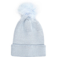 River Island Womens Light blue marabou feather beanie hat