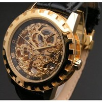 "Eric Edelhausen ""Dorado"" Men's Gold Plated Automatic Skeleton"