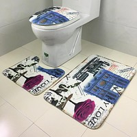 New qualified fashional 3Pcs set Bathroom Non-Slip Blue Ocean Style Pedestal Rug + Lid Toilet Cover + Bath Mat dig699