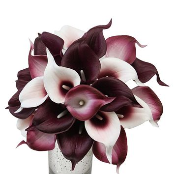 Keepsake artificial bouquet - Real touch Fragrance calla lily in Wine Burgundy theme-Pick Ribbon color
