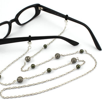 Women's Eyeglass Chain with Pearls, Pearl Eyeglass Holder, Eyeglass Holder Necklace, Readers, Beaded Eyeglass Necklace, Gift for HER