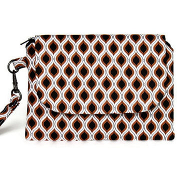 Wristlet in Black Gold and White Ogee Pattern, Stylish Wrist Wallet, Zippered Pouch and Wallet, Small Hand Bag