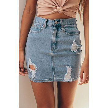 Fashion Womens Ripped Rip Detail Stretch Denim Mini Skirt Pencil Mini Skirt Jeans Skirt Stylish Womens A-line Hole Jeans Skirts