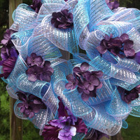 Poly Deco Mesh Wreath in Purple and Teal