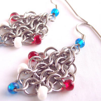 Red White and Blue Earrings Diamond Shaped Chain MailEarrings Stainless Steel Earrings  The Ice Palace