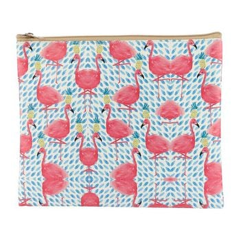 Flamingo Pineapple Print Vinyl Cluch Pouch Bag Accessory 29