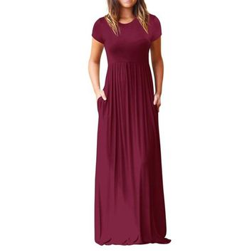 Maxi Dress : Side Pockets Maxi Dress