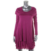 Kensie Womens Cowl Neck Tired Casual Dress