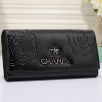 CHANEL Women Flower Leather Buckle Wallet Purse