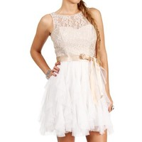 SALE-OffwhiteChampagne Lace Prom Dress
