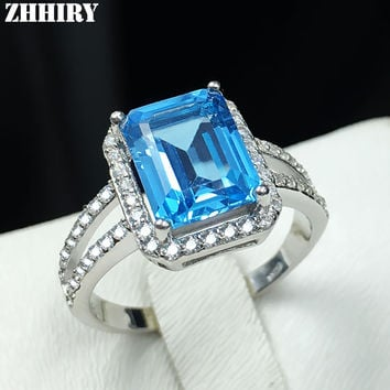 Natural Blue topaz gem ring genuine solid 925 sterling silver women gemstone rings fine jewelry
