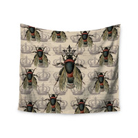 "Suzanne Carter ""Queen Bee"" Black Tan Wall Tapestry"