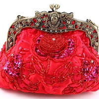 Red Beaded Victorian Purse