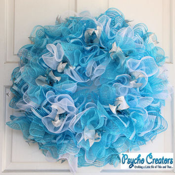 Blue Ruffle Spring Summer Deco Mesh Wreath Sparkle