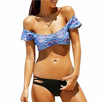 Sexy Women Bandage Bikini Set Push-up Padded Bra Swimsuit Bathing Suit Swimwear Non-positioned Printing #E5