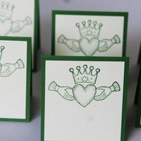 Celtic Wedding Claddagh Place Cards and Food Tents Hand Made Set