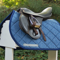 CLEARANCE SALE Ready To Ship - Denim Silver Hearts Close Contact PONY Saddle Pad