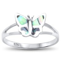 Abalone Simple Butterfly Ring